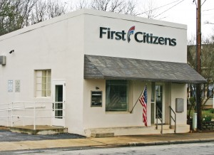 Rocky Nimmons/Courier The First Citizens Bank on Main Street in Six Mile will be closing its doors for good on April 26.