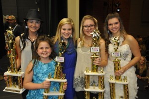 Easley High School student Allison Hale, right, won this year's Pickens County Has Talent competition on Saturday night at Easley High. Pictured with her, from left, are fourth-place winner Beth Wilson, third-place winner Ella Hennessee and second-place winners Hannah and Kaitlyn Kearse.