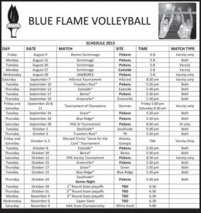 2013 Pickens Volleyball Schedule