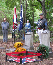 Members of the 16th Regiment Color Guard post the Colors at the beginning of the dedication ceremony.
