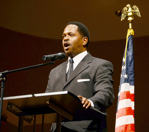 Motivational performer Stephon Ferguson was the speaker for a special chapel service honoring Dr. Martin Luther King Jr. Jan. 22 on the university's campus in Central.