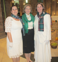 Pictured at Saint Giles' Cathedral are Mari Noorai, president general Lynn Young and Rooksie Noorai.