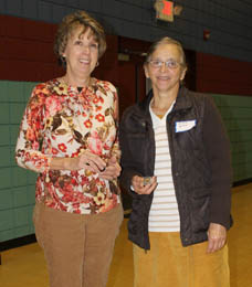 Barbara Welmaker, Elsie Yoder and Pat Mitchell (not pictured) were presented with 20-year service pins for their generosity and loyalty to the Meals on Wheels program