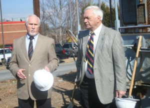 Ben Robinson/Courier Pickens mayor David Owens, left, and Easley mayor Larry Bagwell speak at last week's groundbreaking ceremony for the Doodle Trail in Pickens.