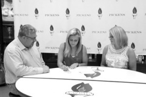 Becky Tarone was joined by her mother, Theresa Wood, and father, Tony Tarone, when she signed her letter of intent earlier this month to run track and cross-country at SWU.