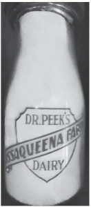Collectors seek them today, and it is indeed a rarity to find one of these glass bottles emblazoned with DR. PEEK'S ISSAQUEENA FARMS DAIRY across its middle. Full of fresh, tasty pasteurized milk through the 1920s, 1930s and into the early 1940s, they graced hundreds of rural and city dinner tables. This half-pint bottle was given to author Jerry Alexander many years ago by Mrs. David Peek of Pickens, daughter-in-law of the late physician and dairy owner. Luckily, an occasional bottle sometimes may still be found in area antique shops across Pickens County.