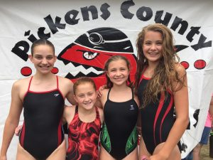 Angela Lucas/Photo The state YMCA championship team for 11-12 girls in both freestyle relay and individual medley relay was the Pickens County YMCA Piranhas team of, from left Tamara Boysworth, Elizabeth Blakely, Emma Yousey and Caroline Lucas.